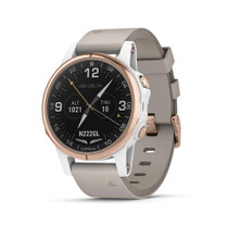 Garmin D2 Delta S - Smaller-Sized GPS Pilot Watch - Rose Gold with Beige Leather Band