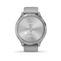 Garmin - vívomove 3 Hybrid Smartwatch 44mm Fiber-Reinforced Polymer - Silver With Powder Gray Case And Silicone Band