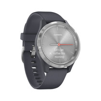 Garmin vívomove 3S - Hybrid Smartwatch with Real Watch Hands and Hidden Touchscreen Display - Silver with Granite Blue Case and Band