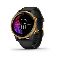 Garmin Venu - GPS Smartwatch with Bright Touchscreen Display - Gold with Black Band - with PowerBank, USB Car Charger, USB Wall Charger, EZEE Bundle!
