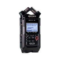 "Zoom H4n Pro All Black 4-Track Portable Recorder (2020 Model), Stereo Microphones, 2 XLR/ ¼"" Combo Inputs, Guitar Inputs, Battery Powered, Multitrack Recorder for Music, Audio for Video, Podcasting"