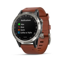 Garmin D2 Delta - GPS Pilot Watch - Includes Smartwatch Features - Heart Rate and Music - Titanium with Brown Leather Band