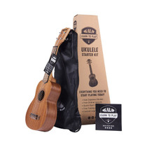 Kala Learn to Play Ukulele Soprano Starter Kit - Satin Mahogany – Includes online lessons - tuner app - and booklet (KALA-LTP-S)