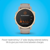 Garmin fēnix 6s Pro Solar, Smaller-Sized Solar-Powered Multisport GPS Watch, Advanced Training Features and Data, Light Gold with Tan Band