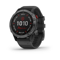 Garmin f?nix 6 Pro Solar - Solar-Powered Multisport GPS Watch - Advanced Training Features and Data - Slate Gray with Black Band