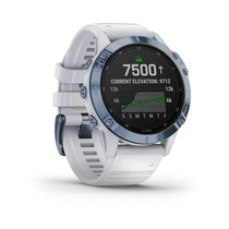 Garmin f?nix 6 Pro Solar - Solar-Powered Multisport GPS Watch - Advanced Training Features and Data - Mineral Blue with White Band