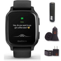 Garmin Venu Sq Music (Black), GPS Smartwatch with Bright Touchscreen Display, Bundle with PowerBank + USB Car Charger + USB Wall Charger (4 Items)