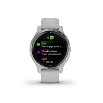Garmin Venu 2S, Smaller-Sized GPS Smartwatch with Advanced Health Monitoring and Fitness Features, Silver Bezel with Light Gray Case and Silicone Band, (010-02429-02)