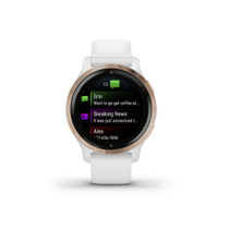 Garmin Venu 2S, Smaller-Sized GPS Smartwatch with Advanced Health Monitoring and Fitness Features, Rose Gold Bezel with White Case and Silicone Band, (010-02429-03)