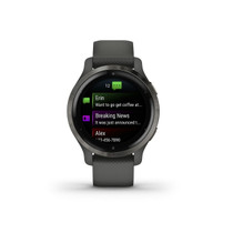 Garmin Venu 2, GPS Smartwatch with Advanced Health Monitoring and Fitness Features, Slate Bezel with Black Case and Silicone Band, (010-02430-01)