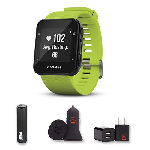 Garmin Forerunner 35 (Limelight) With PowerBank, USB Car Charger, USB Wall Charger, EZEE Bundle!