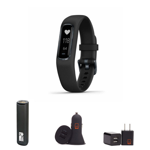 Garmin vivosmart 4 - (Black/Small-Medium) Activity and Fitness Tracker w/Pulse Ox and Heart Rate Monitor Bundle with PowerBank + USB Car Charger + USB Wall Charger