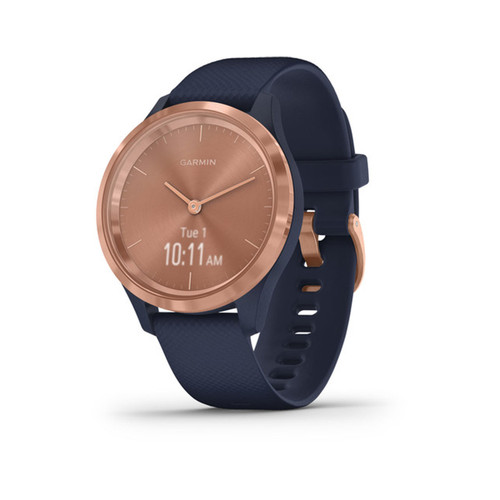Garmin vívomove 3S - Hybrid Smartwatch with Real Watch Hands and Hidden Touchscreen Display - Rose Gold with Navy Blue Case and Band
