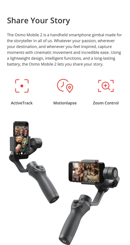 DJI Osmo Mobile 2 Handheld Smartphone Gimbal Bundle with EZEE PowerBank +EZEE USB Car Charger +EZEE USB Wall Charger