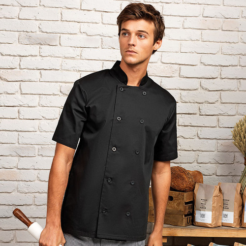 PR656 black short sleeve chef jacket