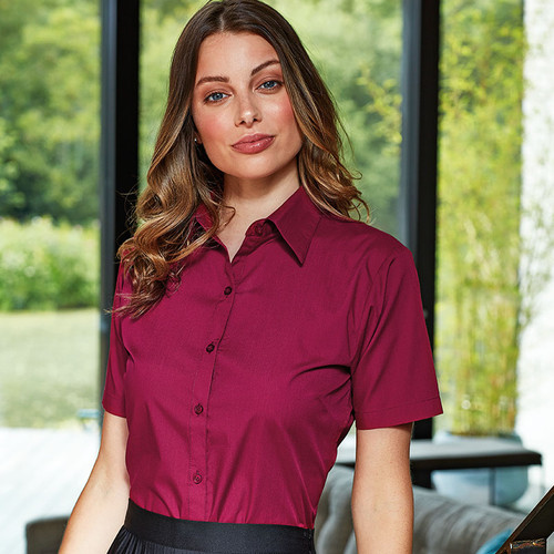 Womens Short Sleeve Poplin Blouse from IronTree Designs