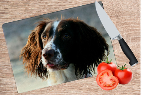 chopping board dog tomato knife