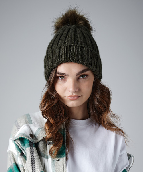 Verbier Fur Pop Pom Beanie from IronTree Designs