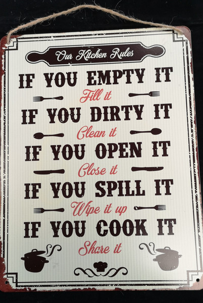 """""""Kitchen Rules"""" Printed Aluminium Panel with Quote"""