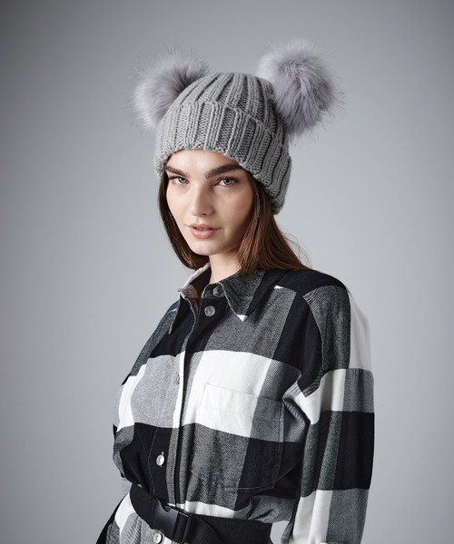 Faux Fur Double Pop Pom Beanie from IronTree Designs
