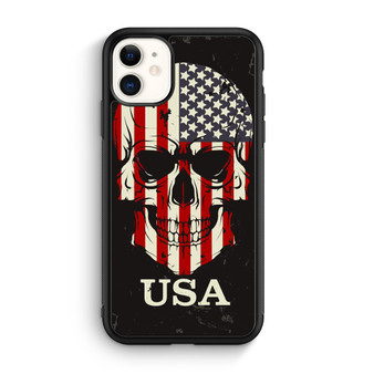 American Flag On Skull iPhone 11/11 Pro/11 Pro Max Case