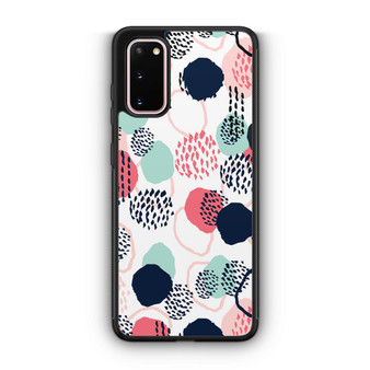 Abstract Dots In Blush Coral Mint And Navy Pattern Samsung Galaxy S20/S20 Plus/S20 Ultra Case