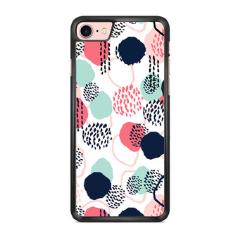 Abstract Dots In Blush Coral Mint And Navy Pattern iPhone 7/ 7 Plus Case