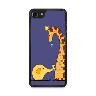 A Giraffe And An Elephant Decorating For Christmas iPhone 8/ 8 Plus Case