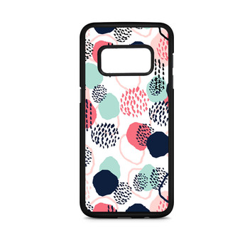 Abstract Dots In Blush Coral Mint And Navy Pattern Samsung Galaxy S8/S8 Plus Case