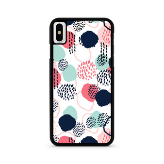 Abstract Dots In Blush Coral Mint And Navy Pattern iPhone X/ XS/ XS Max Case