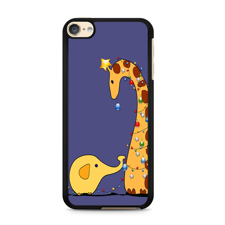 A Giraffe And An Elephant Decorating For Christmas iPod Touch 6 Case