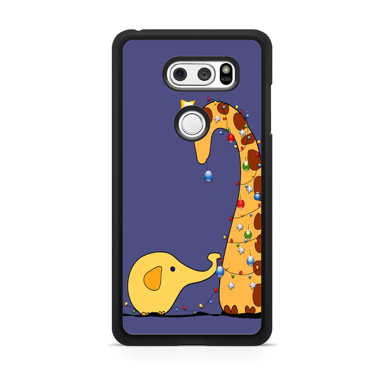 A Giraffe And An Elephant Decorating For Christmas LG V30 Case