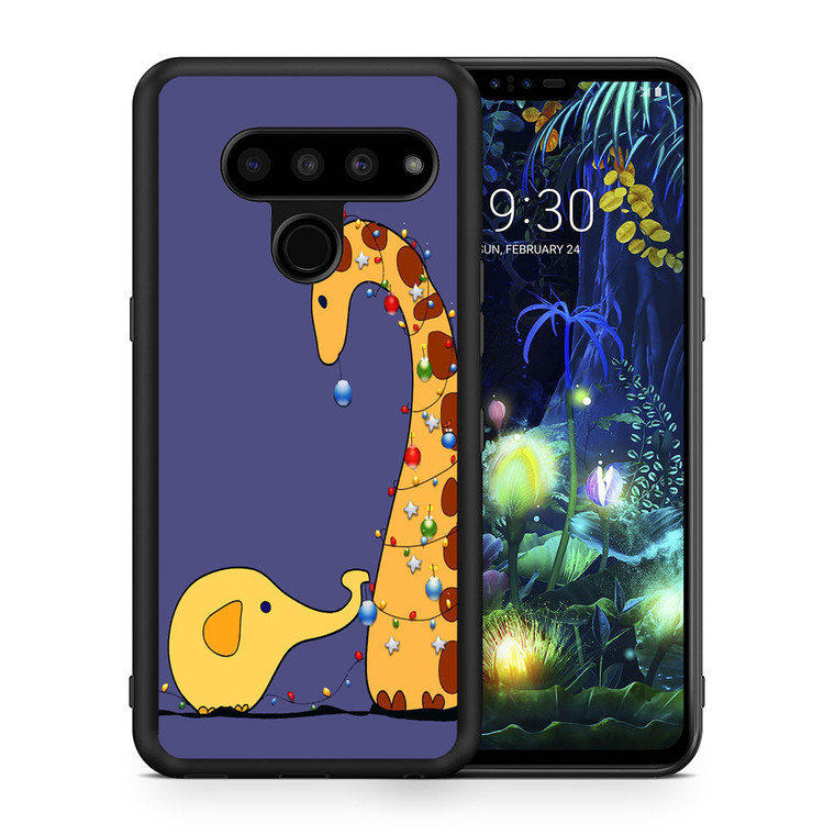A Giraffe And An Elephant Decorating For Christmas LG V50 thinq Case