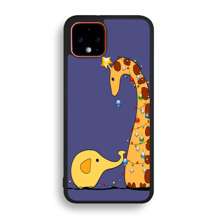 A Giraffe And An Elephant Decorating For Christmas Pixel 4/ 4XL Case