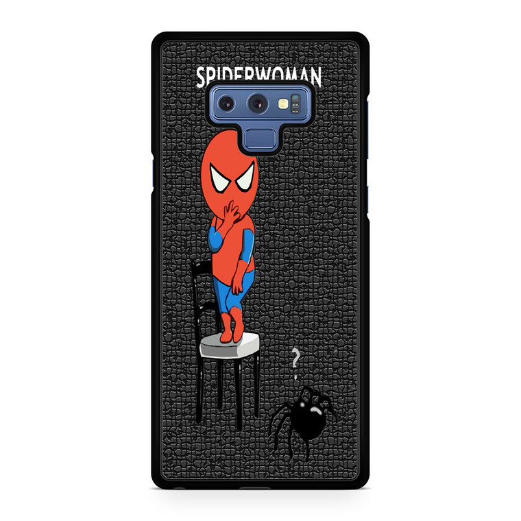Funny Scared Spider Woman Cartoon Samsung Galaxy Note 9 Case