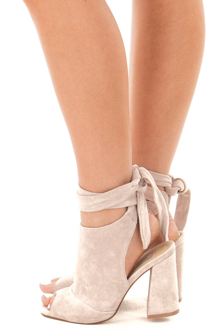 76fa9cd8ca2ec3 Harbor Grey Suede Open Toe Ankle Boots with Tie Up Detail | Lime Lush