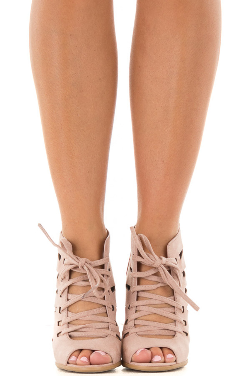 4c995fe0ce Blush Faux Suede Lace Up Open Toe Bootie and Cutout Detail | Lime Lush