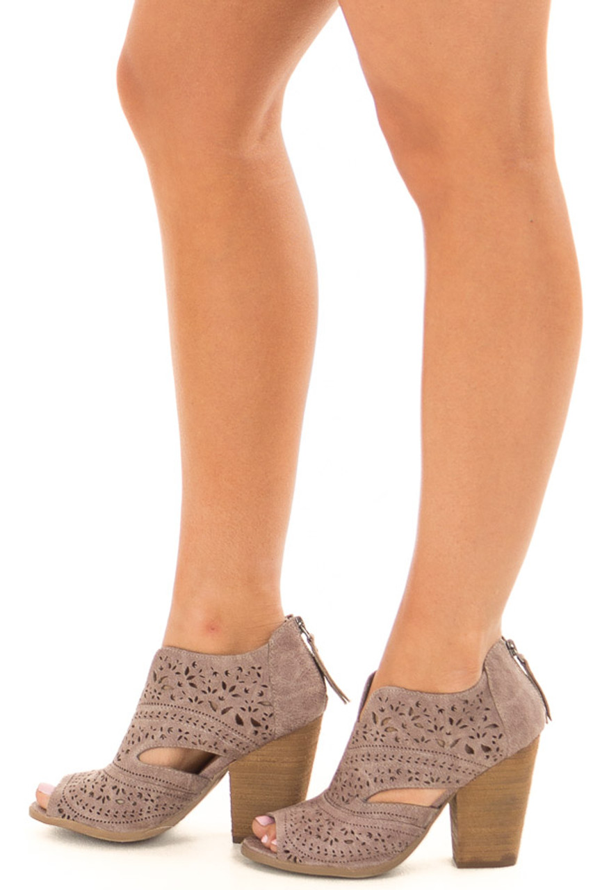 Washed Grey Peep Toe Booties with Cut Out Details - Lime Lush Boutique ea3898694
