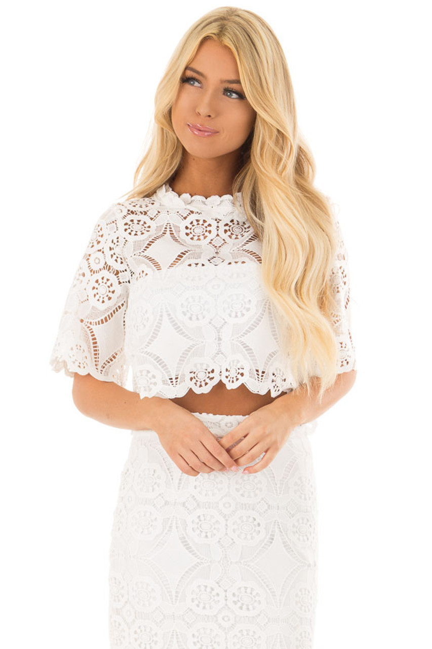 f24e934c2ec Off White Sheer Crochet Lace Crop Top with 3/4 Sleeves - Lime Lush ...