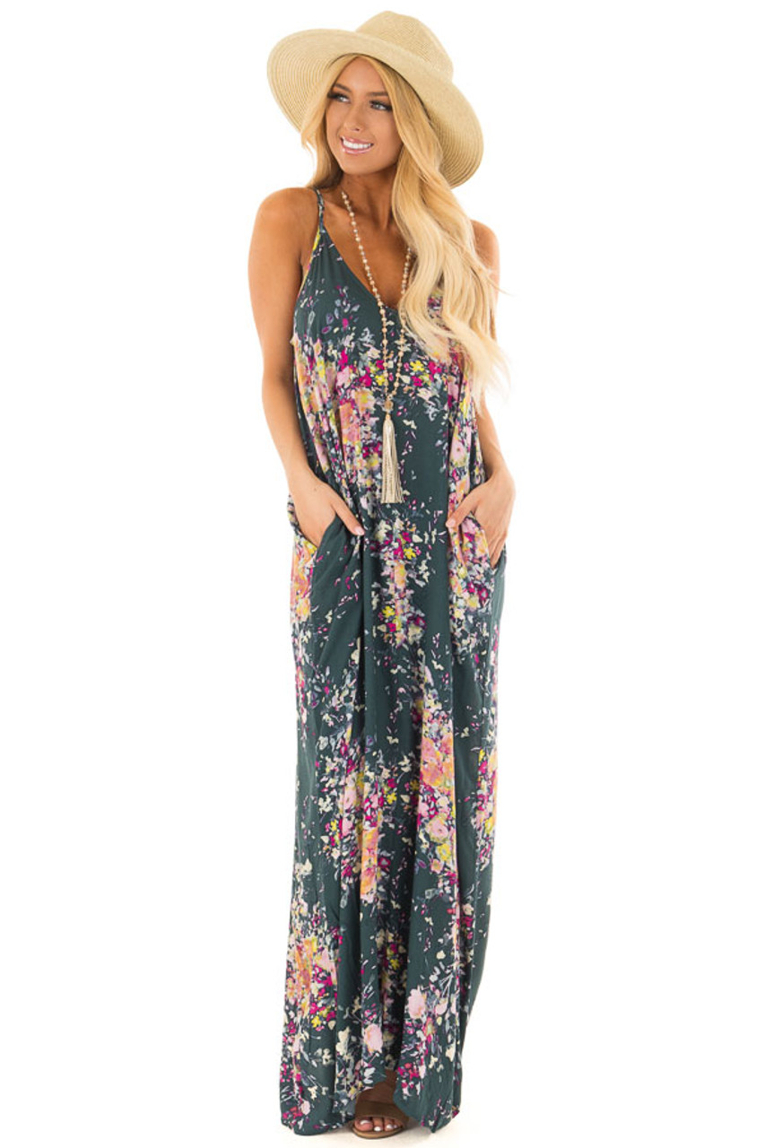09bce909e73 Forest Green Floral Sleeveless Cocoon Maxi Dress - Lime Lush Boutique