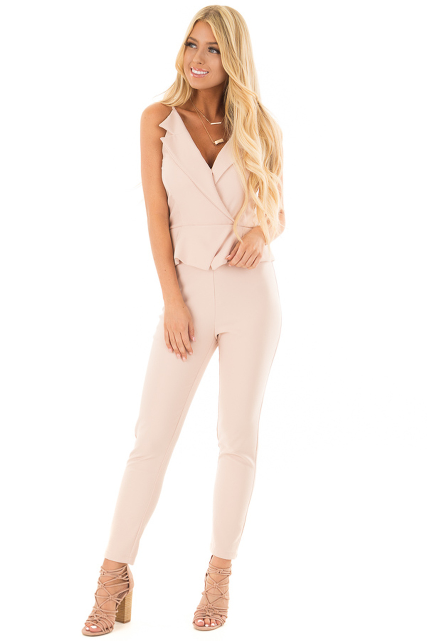 7ebe5c277c43 Blush Sleeveless Peplum Jumpsuit - Lime Lush Boutique