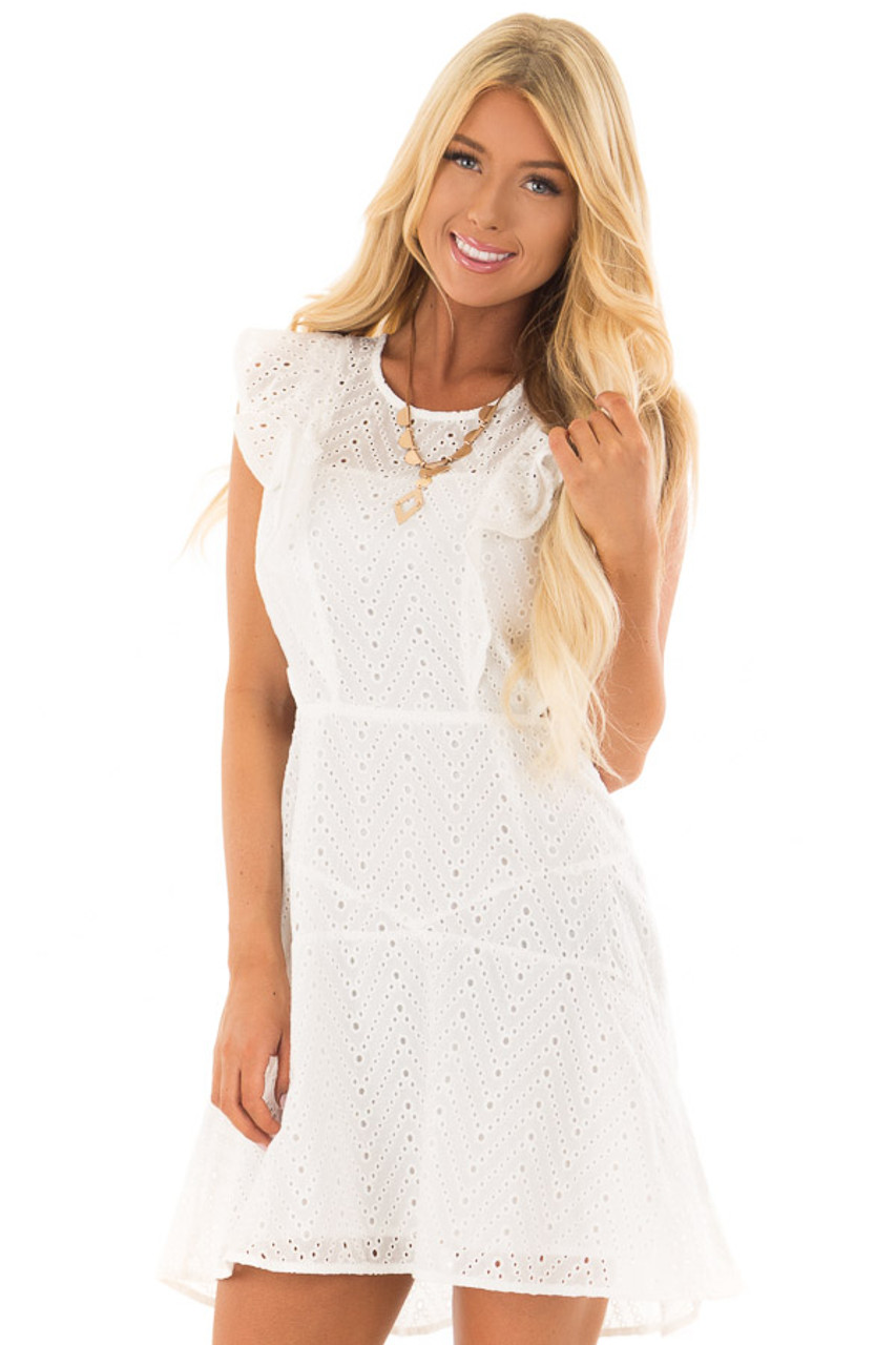 d8c8447d419 White Eyelet Dress with Ruffle Trim and Cutout Sides - Lime Lush ...