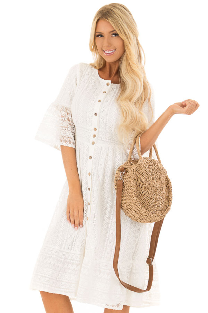bcaf807cb97 White Lace Button Up Dress with Bell Sleeves - Lime Lush Boutique