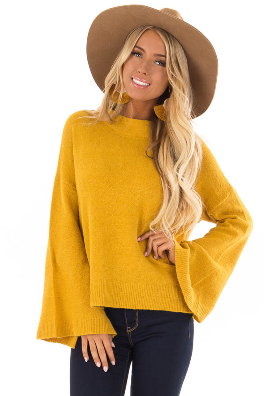 f837f89cbc78de Mustard Long Sleeve Mock Neck Sweater with Bell Sleeves - Lime Lush ...