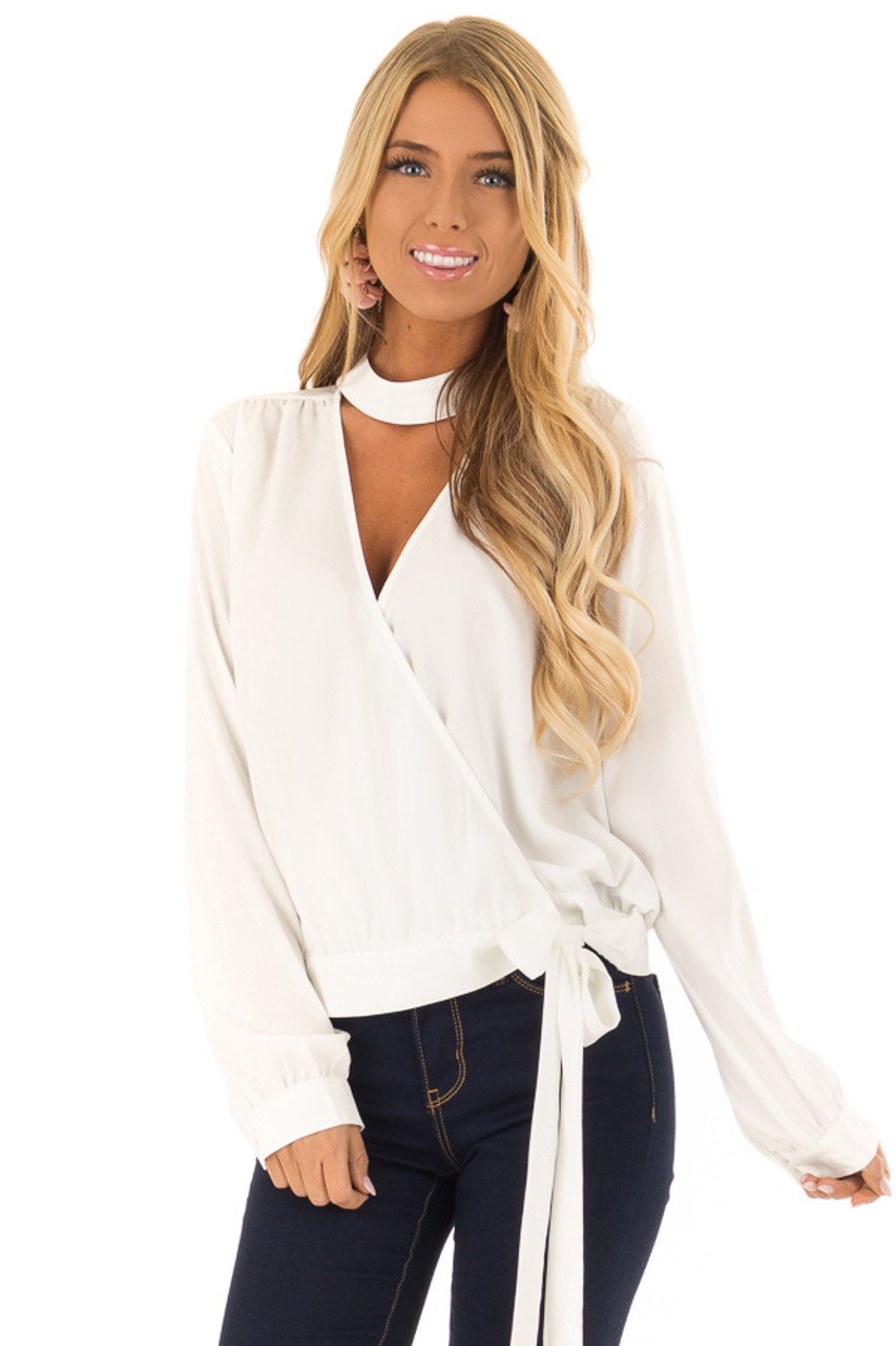 e32ce2df480e Off White Long Sleeve Top with Chest Cutout and Choker - Lime Lush ...