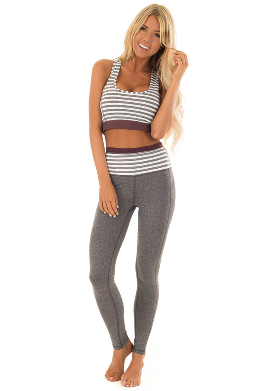 aaeeacc997 Heather Grey Athletic Leggings with Contrast Waistband - Lime Lush ...