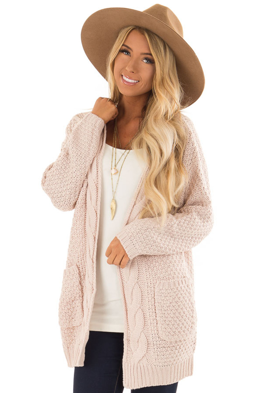 05f843ddef6 Blush Thick Cable Knit Open Cardigan with Pockets - Lime Lush Boutique