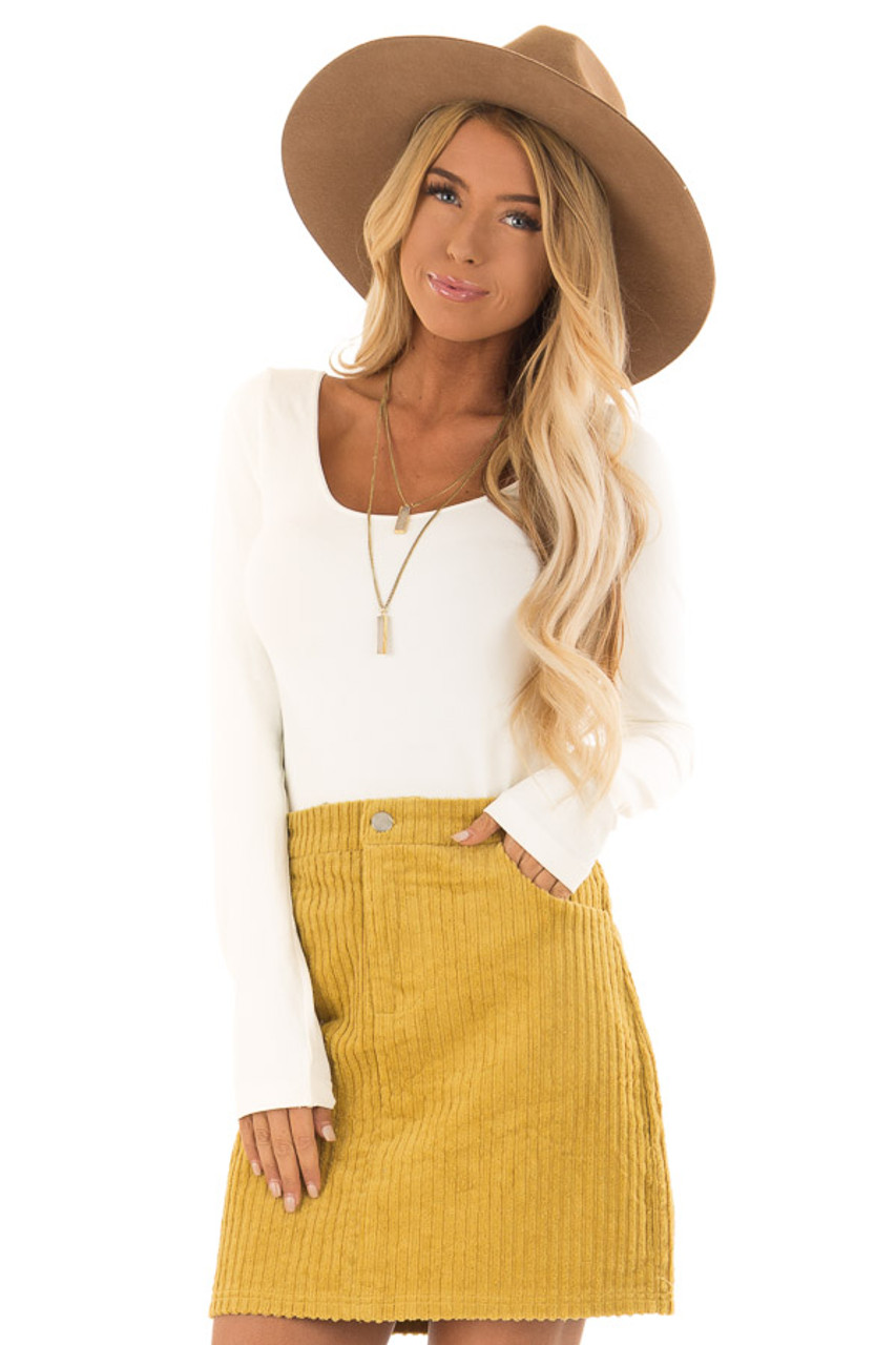 c2cc3063f Mustard Corduroy Mini Skirt with Side Pockets - Lime Lush Boutique