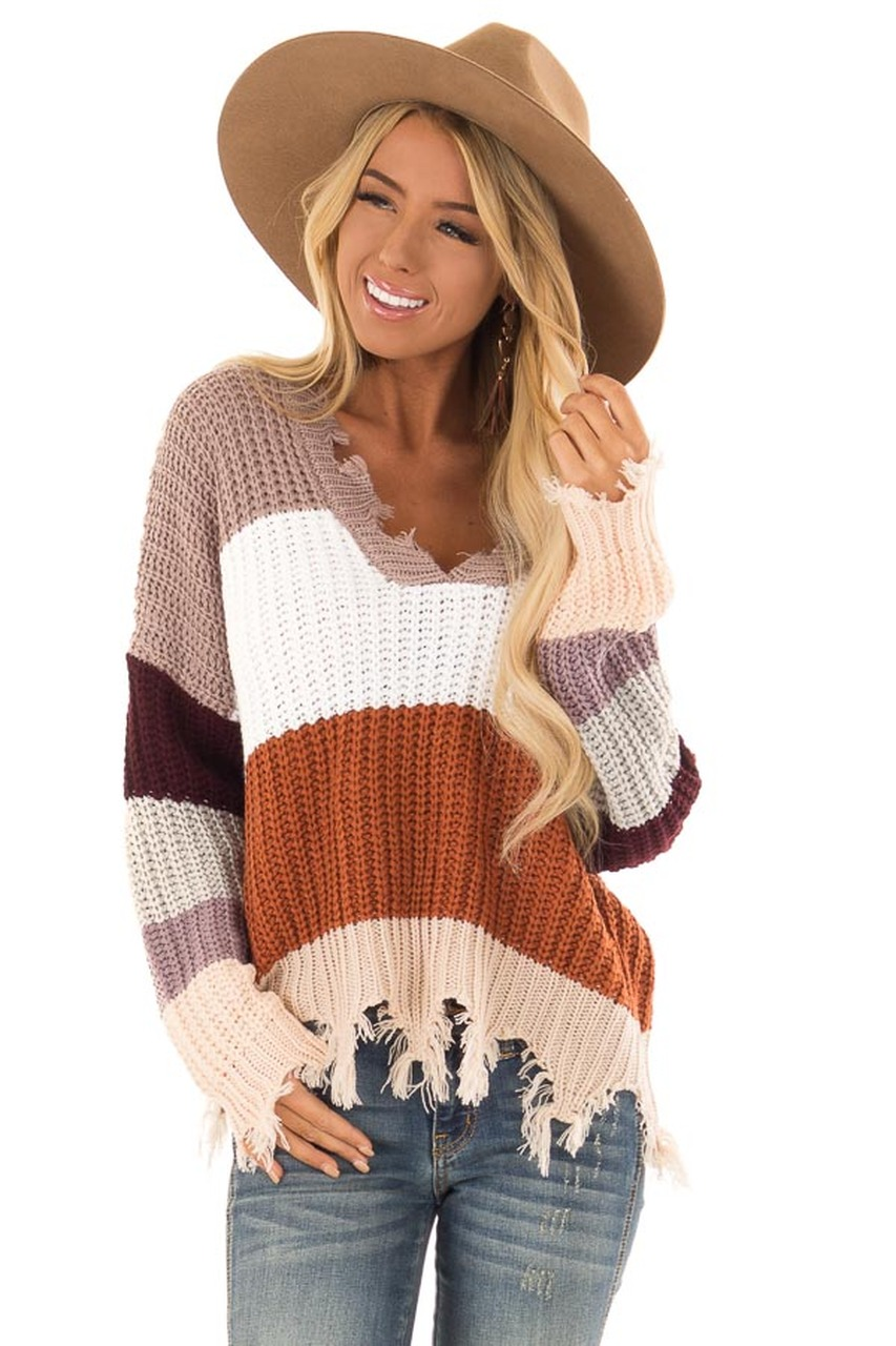 7a233eb280 Rust Multi Stripe Color Block Sweater with Frayed Details front close up