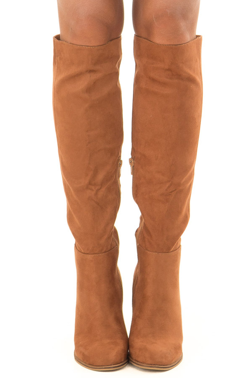 547f109012e Tan Faux Suede Tall Heeled Boots